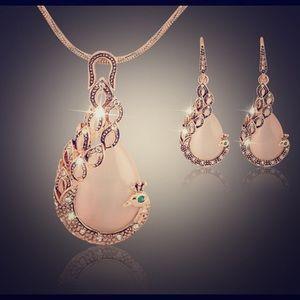 Beautiful Peacock Crystal Jewelry Set!